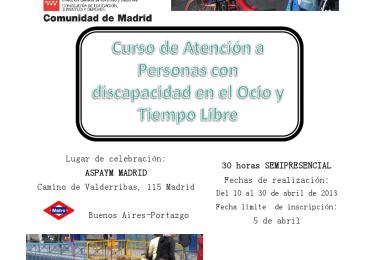 Curso de Atención a Personas con Discapacidad en el Ocio y Tiempo Libre