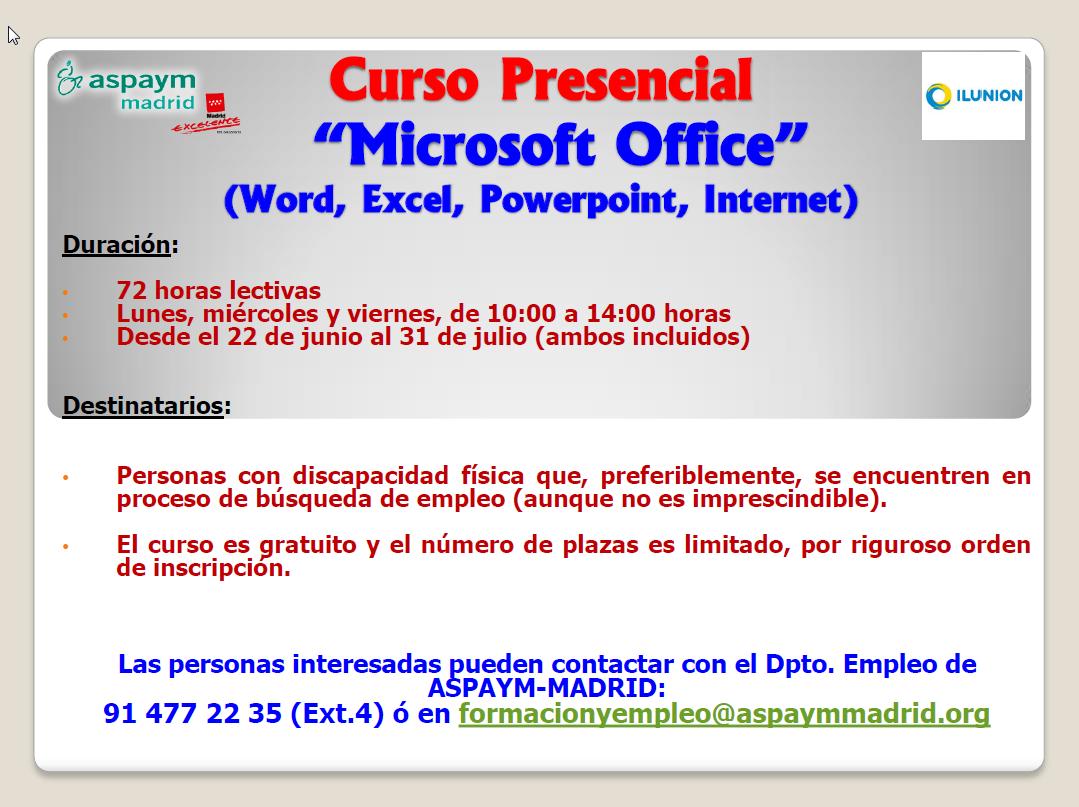 Curso presencial Microsoft Office