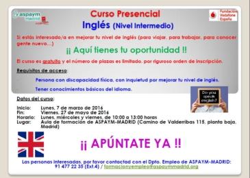 Curso presencial de Inglés (nivel Intermedio)