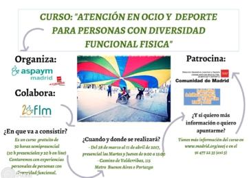 """Curso gratuito: """"Atención en ocio y deporte para personas con diversidad funcional física"""""""