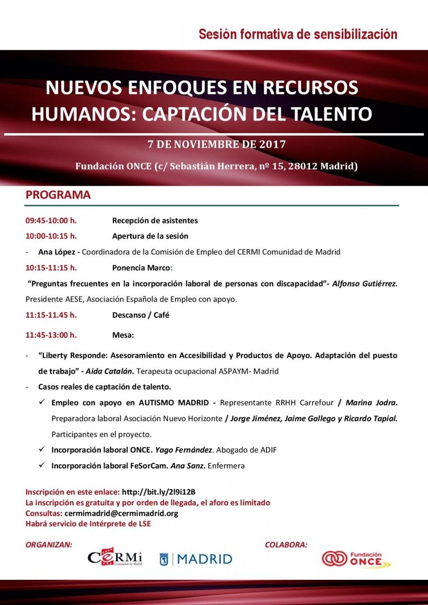 Sesión Formativa de sensibilización sobre «Nuevos Enfoques en Recursos Humanos: Captación del Talento»
