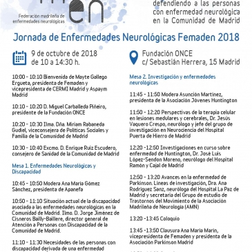 Jornada de Enfermedades Neurológicas FEMADEN | 9 de octubre de 2018
