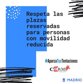 CERMI Madrid lanza #AparcaTusTentaciones, una campaña para que la ciudadanía respete las plazas de aparcamiento para personas con movilidad reducida